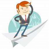 Office Man Flying On Paper Plane
