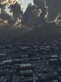Future City under Storm Clouds