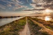 stock photo of ferrara  - panorama at sunset of the wetland a long straight path across the lagoon in the natural reserve  - JPG