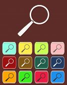 Search Icon with color variations, vector