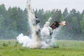 stock photo of explosion  - Image of explosion on field during military actions - JPG
