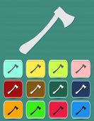 Fire ax icon with color variations, vector