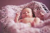 Portrait of a cute newborn baby girl lying down on a blanket