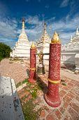 White Pagoda near Maha Aung Mye Bon Zan Monastery in Myanmar.