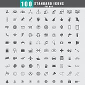 100 Universal Standard Icons Vector