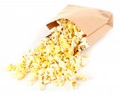 Popcorn in paper bag isolated on white