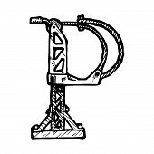 image of letter p  - Steampunk letter made of different technical pieces - JPG