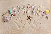 Word Summer Written By In The Sand, With Hand Prints Background
