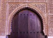 Alhambra Courtyard Moorish Wall Designs Door Granada Andalusia Spain