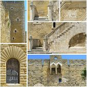 image of bannister  - Collage Wonderful swabian castle of Gioia del Colle  - JPG