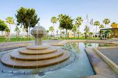 pic of fountain grass  - A view of Molos Promenade on the coast of Limassol city in Cyprus - JPG