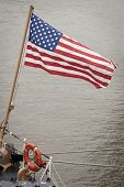 NEW YORK - MAY 22: The American flag flies from the stern of the Famous-class cutter USCGC Campbell
