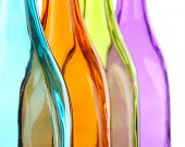Colorful bottles close-up