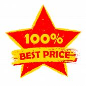 100 Percentages Best Price In Star, Yellow And Red Drawn Label