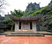 Bich Dong Pagoda in Ninh Binh, Vietnam. Thuong Pagoda (upper pagoda)