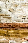 Red And White Sandstone And Chalk Cliffs At Hunstanton,norfolk,england