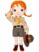Young happy Boy Scout girl gives a salute