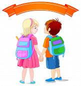 Illustration of girl and boy are going to school.