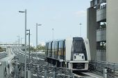 Automated People Mover arrival at the MIA Station in Miami Florida USA.