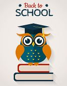 Back To School. Card With Wise Owl. Vector Illustration.