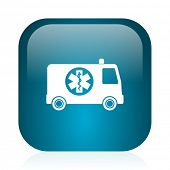 ambulance blue glossy internet icon