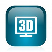3d display blue glossy internet icon