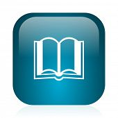 book blue glossy internet icon