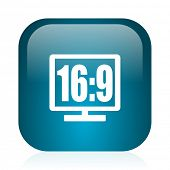 16 9 display blue glossy internet icon