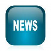 news blue glossy internet icon