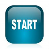 start blue glossy internet icon