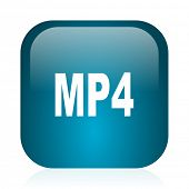 mp4 blue glossy internet icon