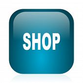 shop blue glossy internet icon