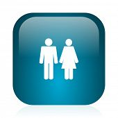 couple blue glossy internet icon