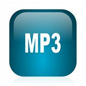mp3 blue glossy internet icon