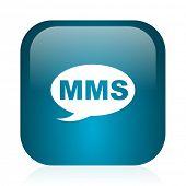 mms blue glossy internet icon