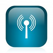 wifi blue glossy internet icon