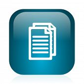 document blue glossy internet icon