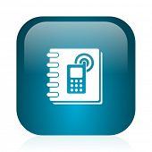 phonebook blue glossy internet icon