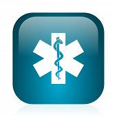 emergency blue glossy internet icon