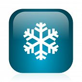 snow blue glossy internet icon