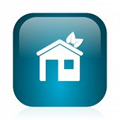 house blue glossy internet icon