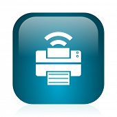 printer blue glossy internet icon
