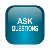 ask questions blue glossy internet icon