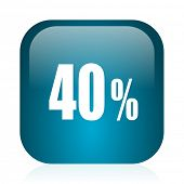 40 percent blue glossy internet icon