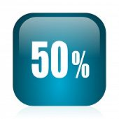 50 percent blue glossy internet icon