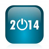 year 2014 blue glossy internet icon