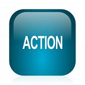 action blue glossy internet icon