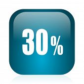 30 percent blue glossy internet icon