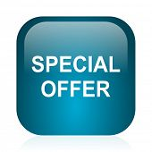 special offer blue glossy internet icon