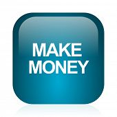 make money blue glossy internet icon